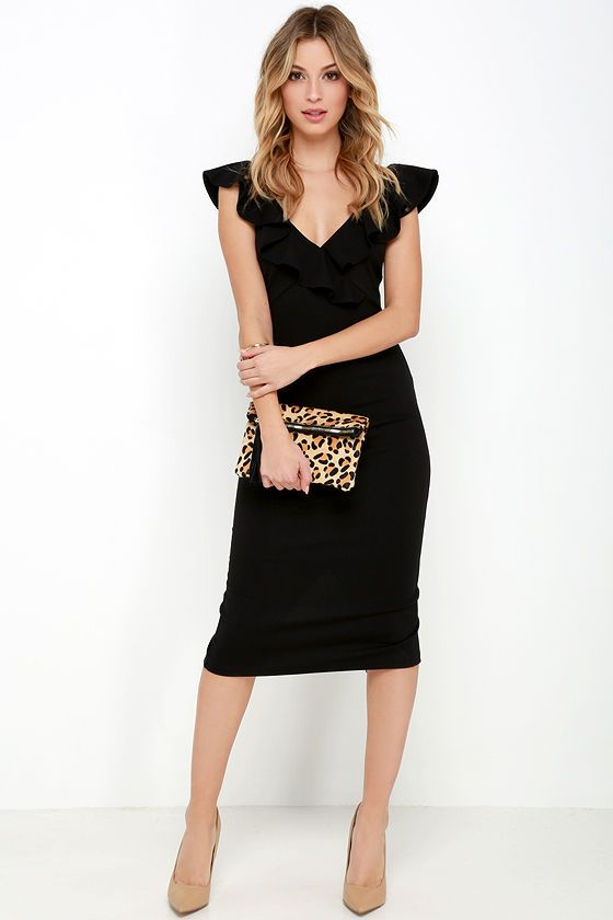 Even at a moment's notice, with the Ready to Ruffle Black Midi Dress you'll be chic in a snap:
