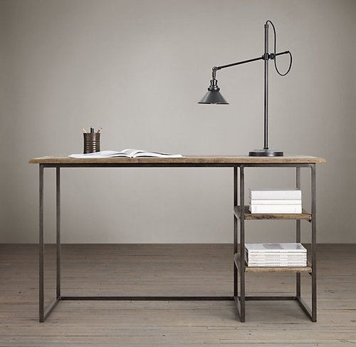 Industrial office industrial and office desks on pinterest for Industrial pipe desk