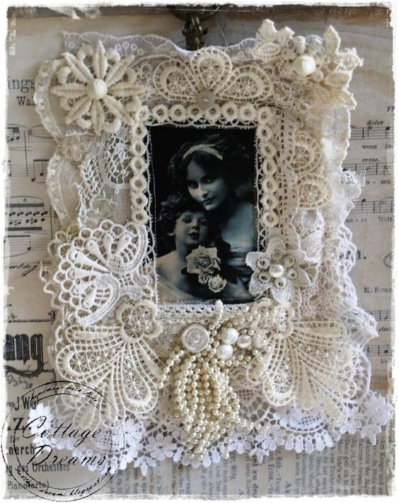 pearl and lace picture frame: