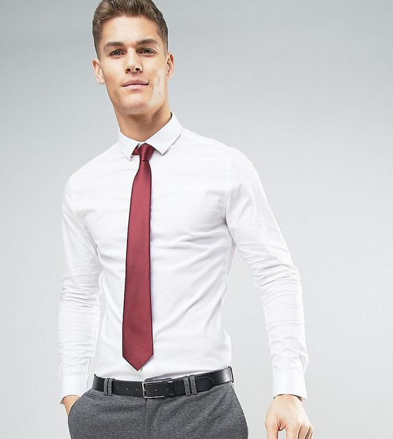 Burgundy tie with plain white shirt