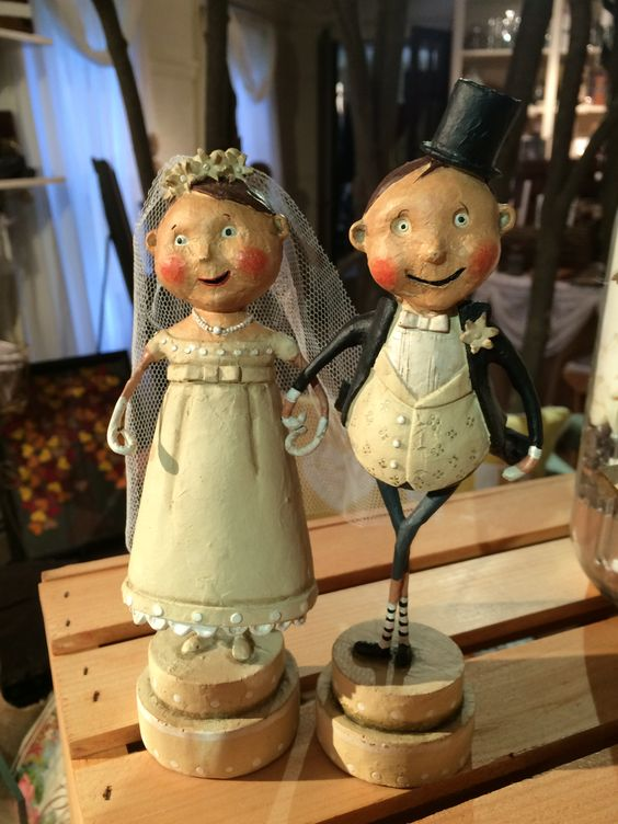 If you are looking for a cake topper that is truly vintage and artsy, check out this couple! Truly a topper to remember. This happy couple will bring cheer and joy to the faces of all who pass by!  For more information or to order contact Jessie@stroudsmoor.com