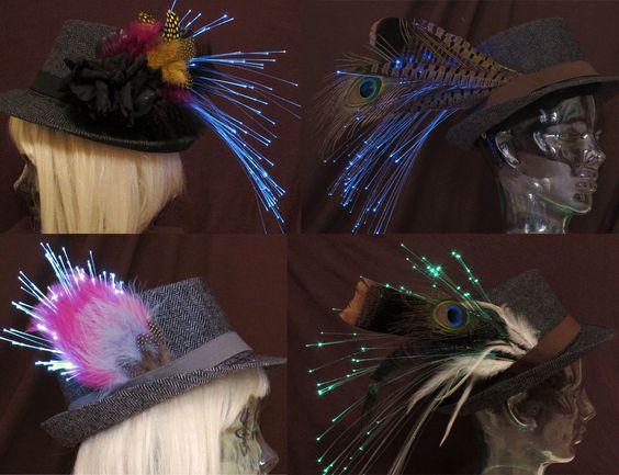 Custom orders are encouraged! Create your own fiber optic, feather fedora by Team Rainbow Designs! #glowing #fedora #accessory #hats #feathers #fiberoptics #halloween #mardigras #musicfestival #funkyfashion
