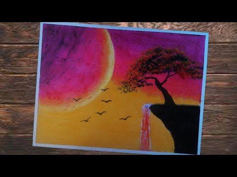 Cara Mudah Menggambar Sunset Yang Indah Dan Air Terjun Dengan Crayon G Gambar Gambar Keren Air Terjun