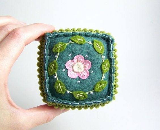 Embroidered Teal Green and Pink Felt Pincushion by SeaPinks