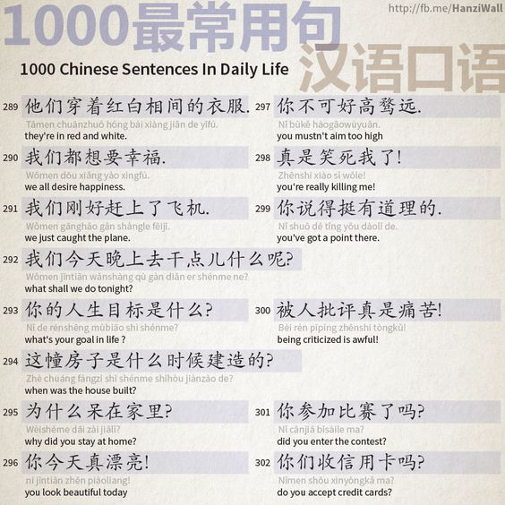 1000 Chinese Sentences In Daily Life Part 19