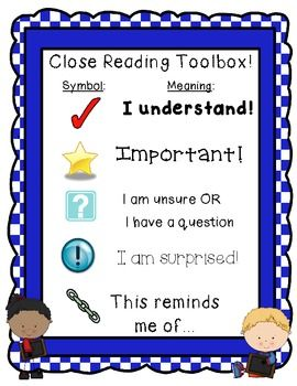 Free! Close Reading Toolbox. Great handout for students to refer back ...