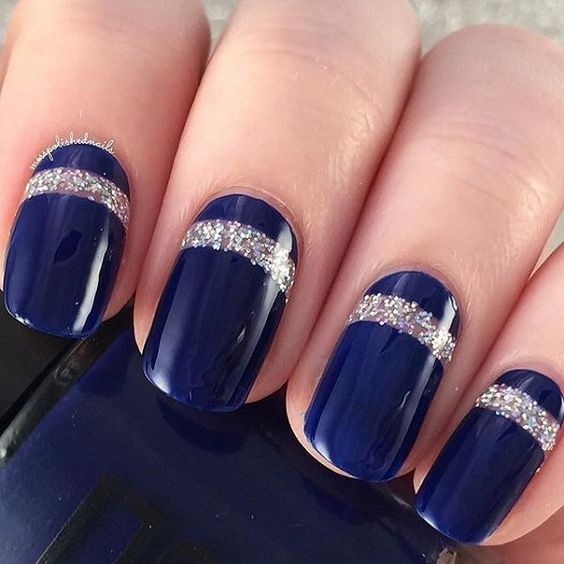 Dark blue and silver nails