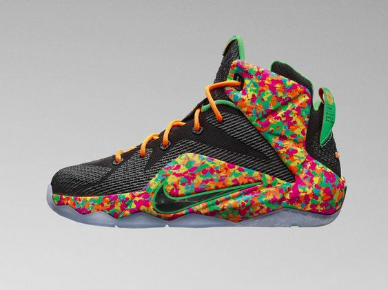 """The Nike LeBron 12 """"Fruity Pebbles"""" will release exclusively in kids sizes on March 11."""