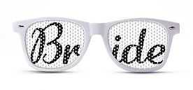 Imagine the photo ops! Wayfarer-style bride frames from our sponsor promovizion.com They totally have other ones too, for grooms and bridesmaids, as well as leopard print and city names -- including ones that would be perfect for a Vegas weddings.