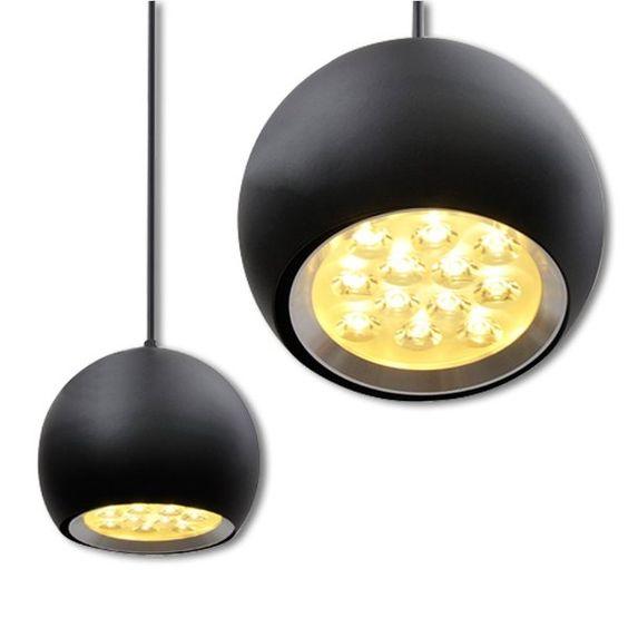Modern 12 watt cool white round LED pendant lamp pendant lamp with black shell, 85-265V AC:Amazon.co.uk:Lighting