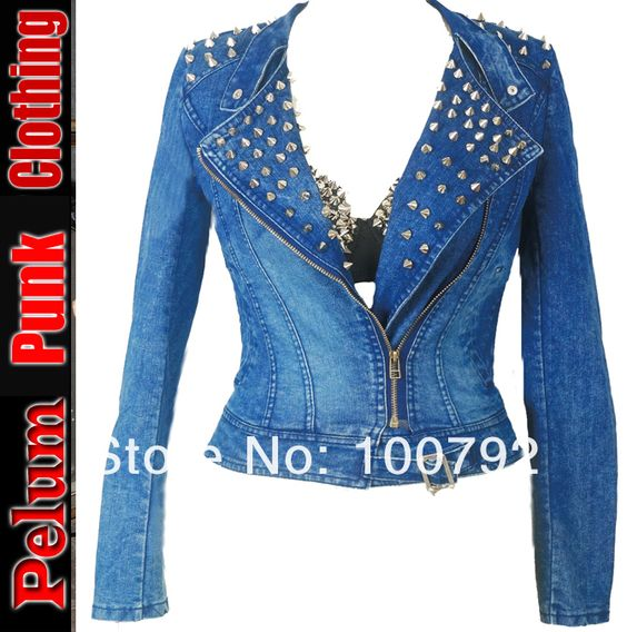 Aliexpress.com : Buy biker Spike Jeans Jacket Women Spike Studded Shrug Shoulder Outwear Coats Women Denim Cropped VINTAGE   Denim Jacket from Reliable punk leggings suppliers on Pelum Fashion Factory Store $55.00