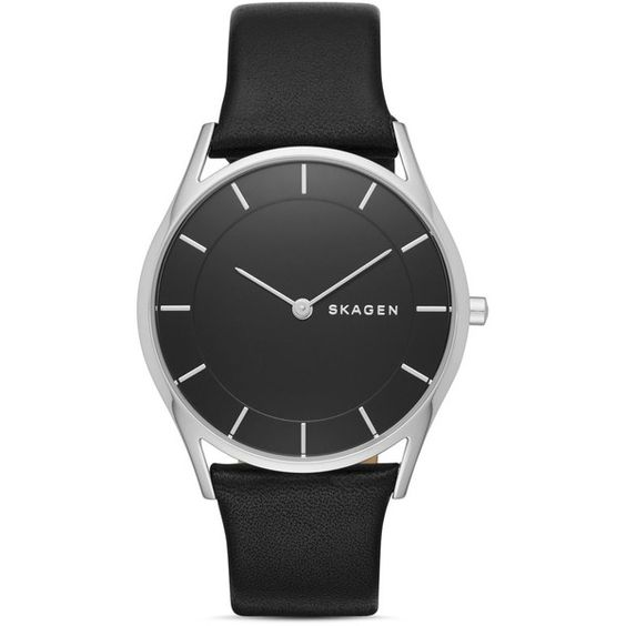Skagen Slim Holst Leather Strap Watch, 34mm ($155) ❤ liked on Polyvore featuring jewelry, watches, black, skagen watches, skagen jewelry, polish jewelry, slim watches and skagen wrist watch