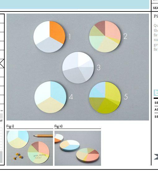 Tortendiagramme als Haftnotizen - Pie Charter Stickies
