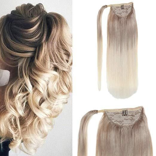 Ponytail Human Hair Extensions With Clip Wrap Balayage Ash Blonde