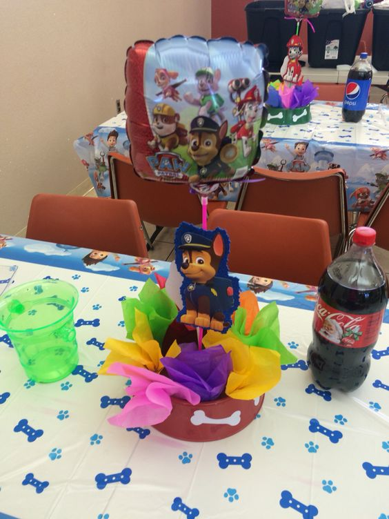 Paw patrol centerpiece birthday pinterest