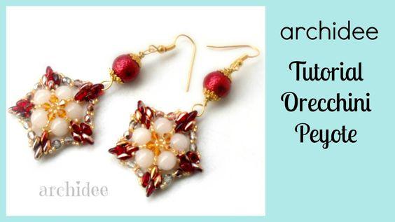 Peyote   Tutorial   Orecchini Stelle di Natale   Superduo   DIY earrings