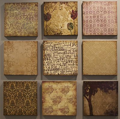 Create your own canvas wall art using scrapbook paper and mod podge.