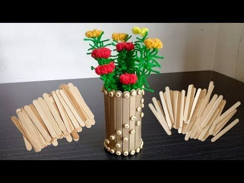 Best out of Waste From Ice Cream Stick   Waste ice cream ... Ice Cream Stick Flower Vase Videos on ice cream sticks lamps, ice cream sticks crafts, ice cream sticks chair,