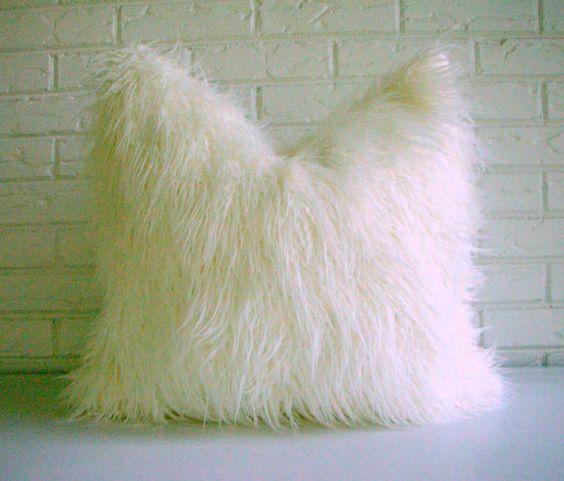 Fur Throw Pillow Covers : White Shag Pillow Cover - Faux Fur Throw - Mongolian Lamb Decorative Pillow - Vegan Fur Pillow ...