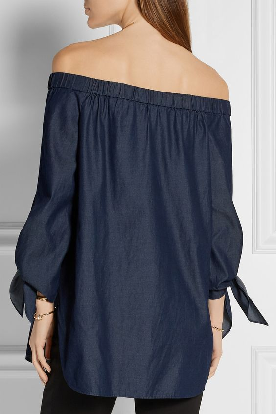 Tibi | Off-the-shoulder cotton-chambray top | NET-A-PORTER.COM