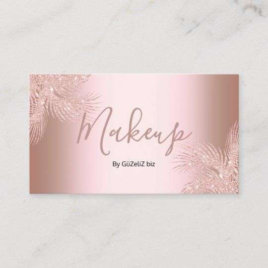 Elegant Girly Rose Gold Glitter Palm Makeup Business Card Zazzle Com In 2021 Makeup Business Cards Glitter Business Cards Rose Gold Business Card