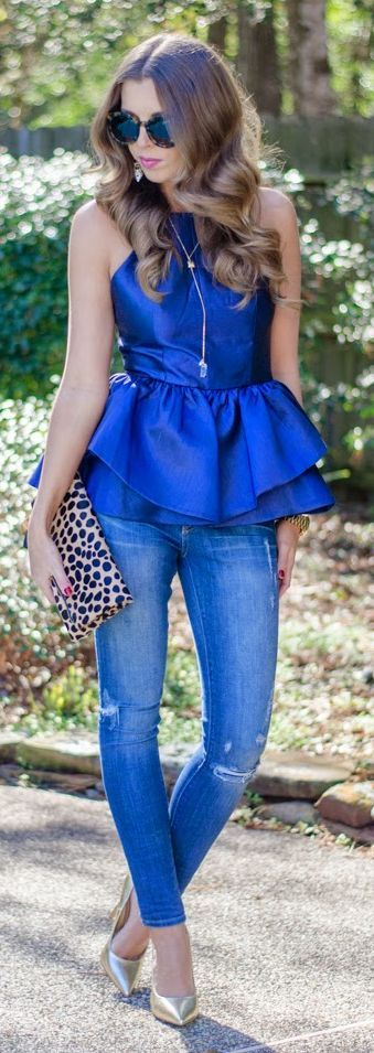 Metallic Blue Double Peplum Top !!!