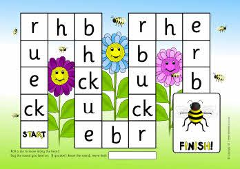 A printable phonics board game with the sounds CK, E, U, R, H and B.
