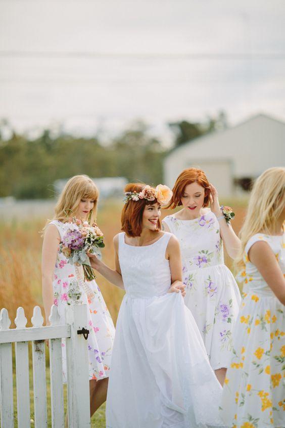 Emma Soup Bridal & Boutique Floral Print Bridesmaid Dresses / Justin Aaron Photography