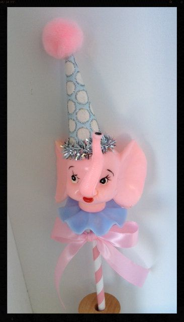 Shabby Chic Vintage Pink Elephant Cake Topper for by JeanKnee