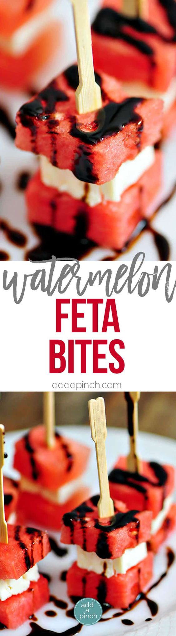 Watermelon Feta Bites Recipe - Watermelon Feta Appetizer Bites make a perfect appetizer that just screams summer! These easy, elegant Watermelon Feta Appetizer Bites come together quickly. // addapinch.com
