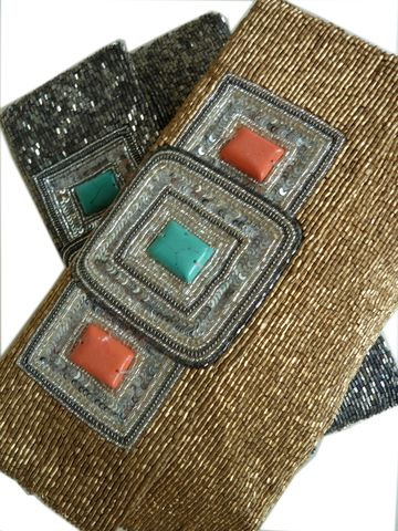 Gorgeous! Beaded Envelope Bag Matte Gold or Pewter with Turquoise Inlay by Moyna for IMPERIO jp.