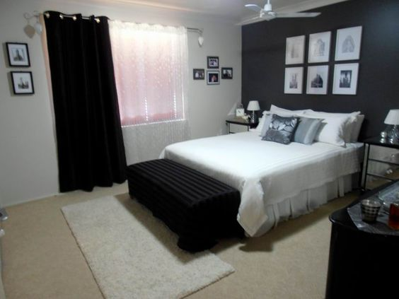 dark grey feature wall black and white bedroom www
