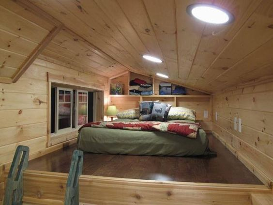 I like this bedroom loft in tiny ~ it is spacious and uses space well