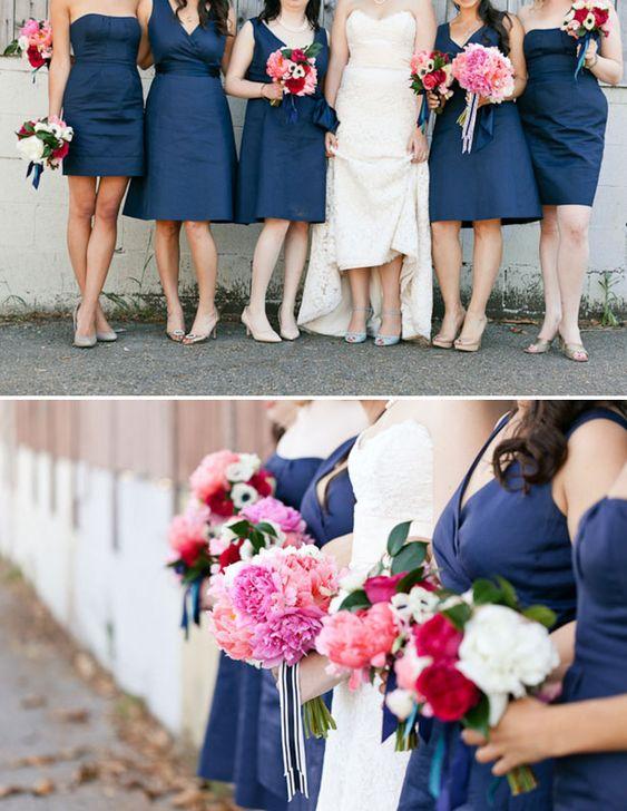 Blue bridesmaids.