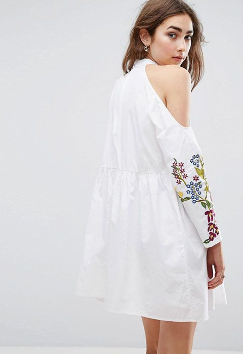 ASOS Embroidered Cold Shoulder Dress