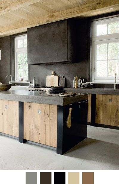 Cement and Wood Kitchen