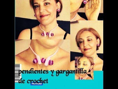 TUTORIAL:PENDIENTES Y GARGANTILLA DE CROCHET - YouTube