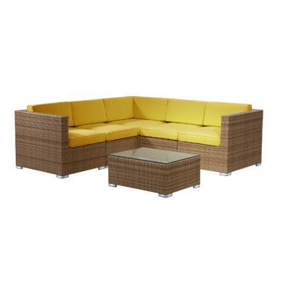 Rattan Outdoor Furniture Brighton 6 Piece Sectional Seating Group with Cushion Fabric: