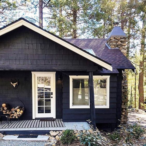 Pin By Home Decor On House Extrior In 2020 Black House Exterior Cottage Exterior Cottage Exterior Colors