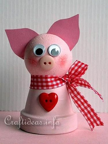 Spring Craft for Kids - Cute Clay Pot Pig Craft: