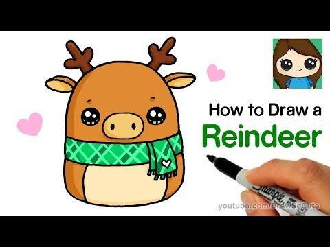 How To Draw A Reindeer Easy Squishmallows Youtube Cute