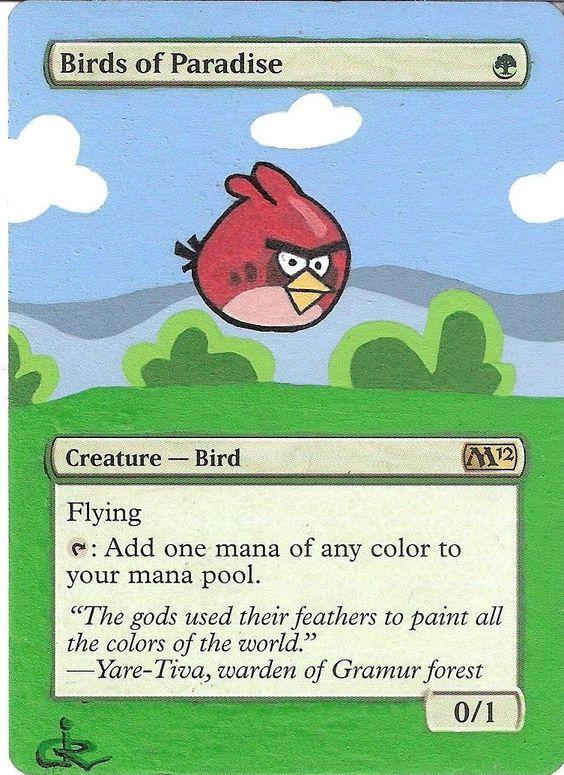 Altered art MTG Birds of Paradise as Angry Birds by artist jR http://www.squidoo.com/magic-the-gathering-altered-art-cards #mtg #magic #magicthegathering #alteredart  #geek