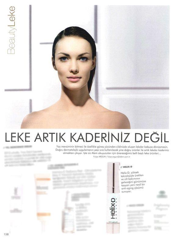 Cilt rengini düzenleyen peptid içeriği ile Helix-D, Alem Dergisi'nde...