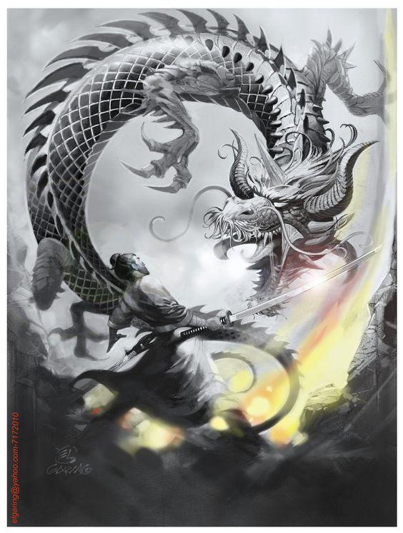 剣を構える人間と龍の壁紙