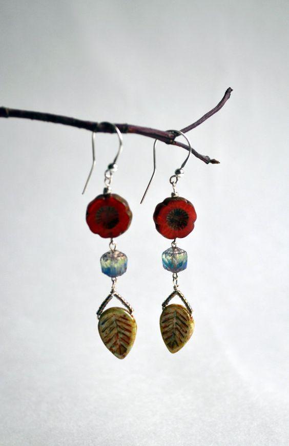 Dangle Czech Glass Earrings  Colorful Glass Earrings  by lyralyra