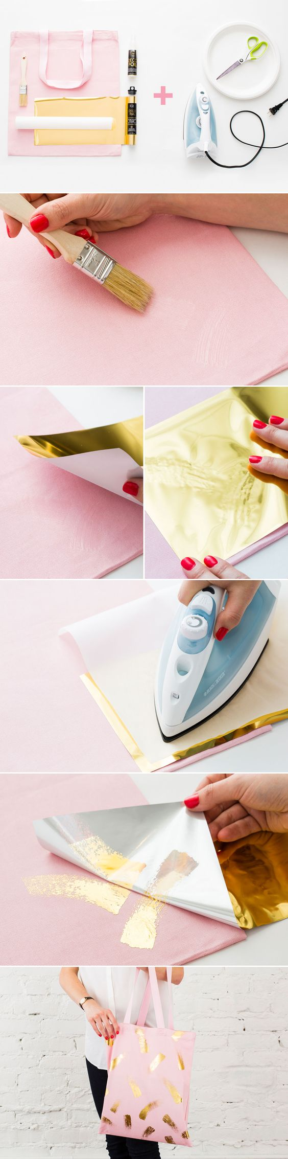 DIY a chic summer tote with gold details. It's so pretty   Como estampar una bolsa con líneas doradas. Genial DIY: