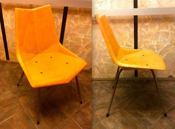 PAUL McCOBB CHAIR Rare fiberglass origami chair salmon peach orange '50s Eames midcentury era
