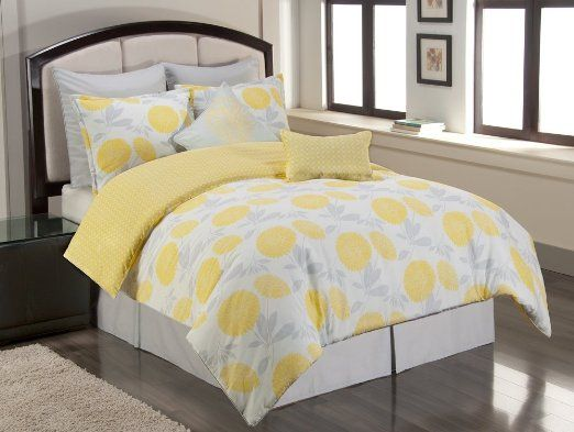 Sunset and Vine Briar Cliff 6-Piece XL Twin Comforter Set, Yellow/Grey