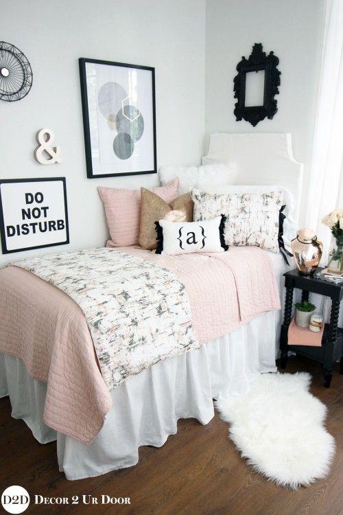 Blush Rose Gold Marble Dorm Bedding Set Dorm Room Decor White