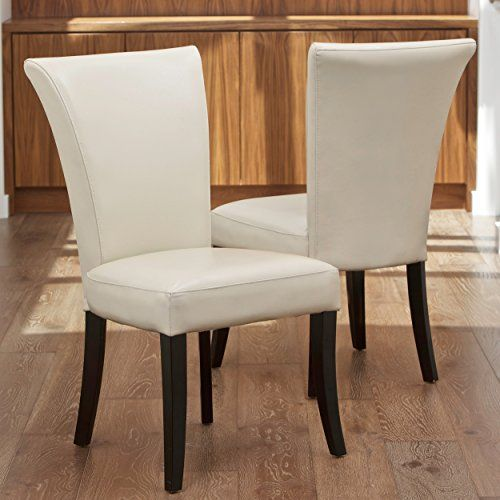 Elmore Ivory Leather Dining Chairs Set Of 2 Dining Room